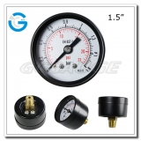 1.5 Economy black steel center mounted snap-in lens pressure gage