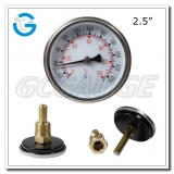 2.5 inch black steel back connection crimped ring bimetallic thermometers