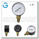 1.5 Economy black steel end mount bourdon tube manometer