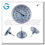 4 inch stainless steel back connection outdoor bimetallic thermometers with crimped ring