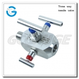Three way needle valve for pressure gauges